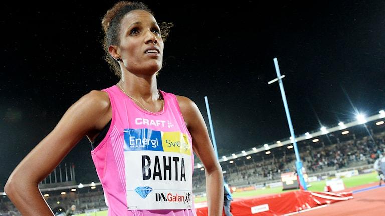 20140821 Meraf Bahta efter 1 500 meter för damer vid Diamond League tävlingen DN-galan på Stadion i Stockholm på torsdagen. Foto: Maja Suslin/TT
