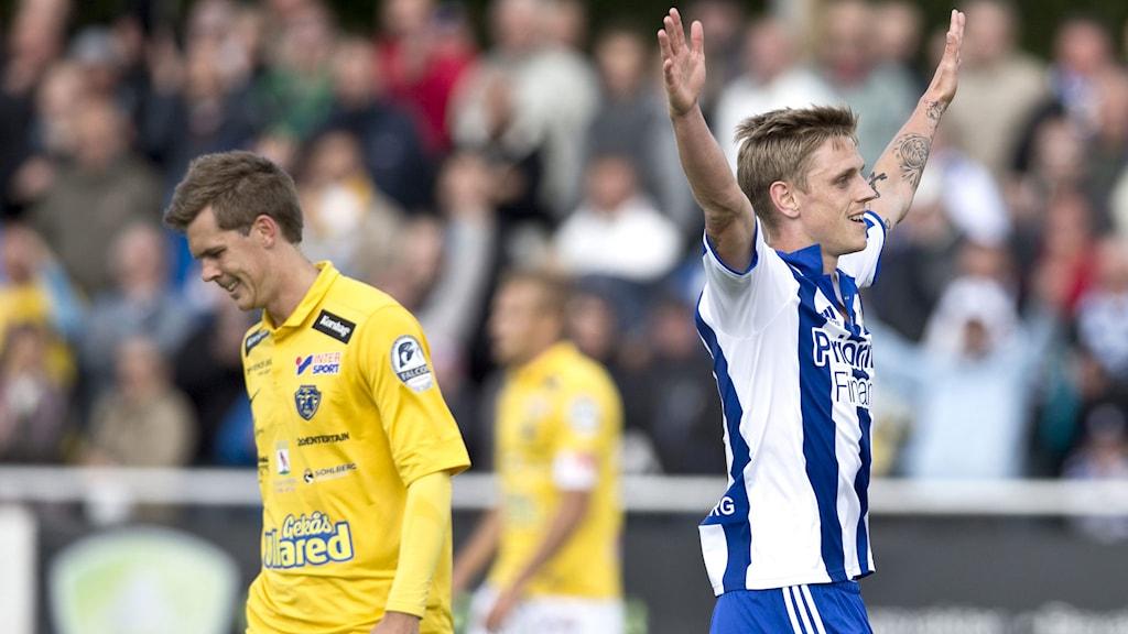 Sören Rieks jublar efter sitt mål. Foto: Björn Larsson-Rosvall/TT