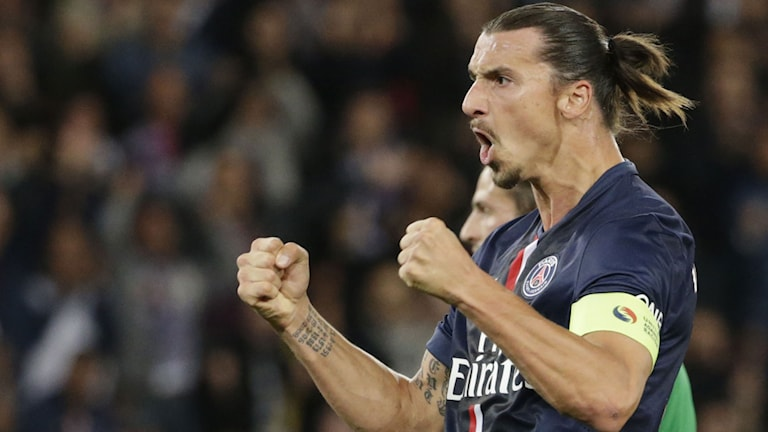 2014, Zlatan Ibrahimovic jublar efter 2-0-målet mot S:t Etienne. Foto: TT Nyhetsbyrån