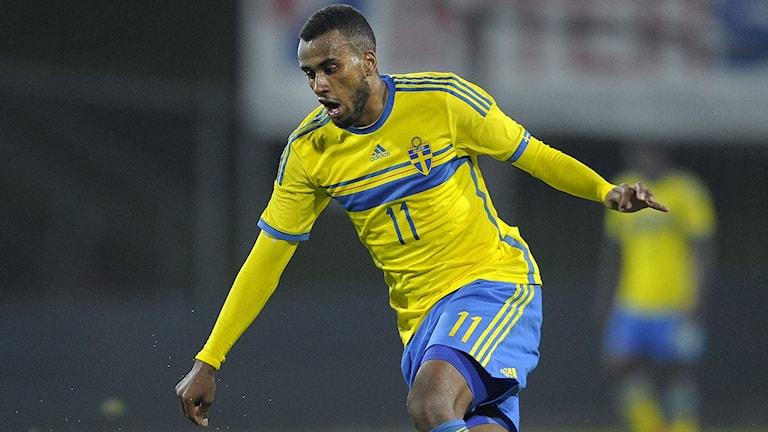 Isaac Kiese Thelin i U21. Foto: Björn Lindgren/TT