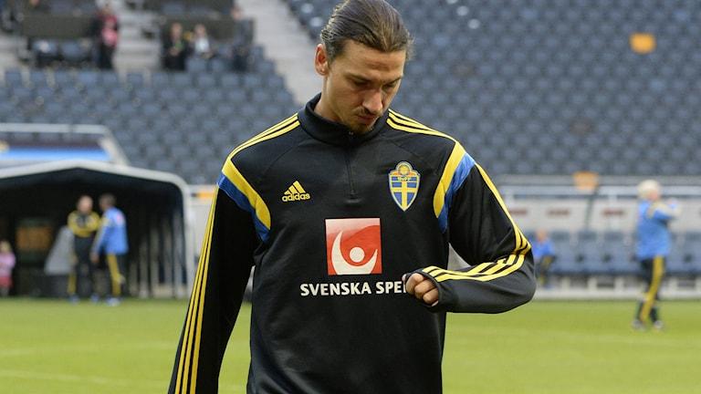 20141011 Zlatan Ibrahimovic på lördagens träning. Foto Bertil Ericson / TT.