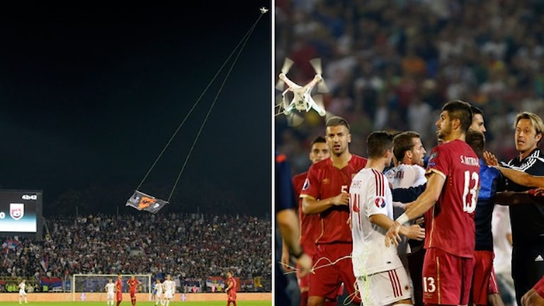 Matchen mellan Serbien och Albanien avbröts på grund av en inflygande flagga. Foto: TT Nyhetsbyrån