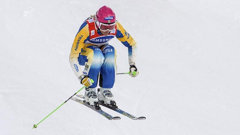 Anna Holmlund under världscupen i Åre. Foto: Janerik Henriksson / TT