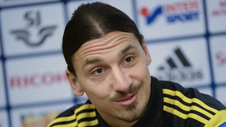 Pressträff med Zlatan Ibrahimovic inför EM-kvalmatchen borta mot Montenegro. Foto: Jonas Ekströmer/TT