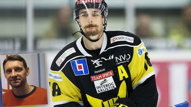 Västerås Jeremy Williams och (infälld i bild) Radiosportens hockeyexpert Kristofer Ottosson. Foton: TT och SR.