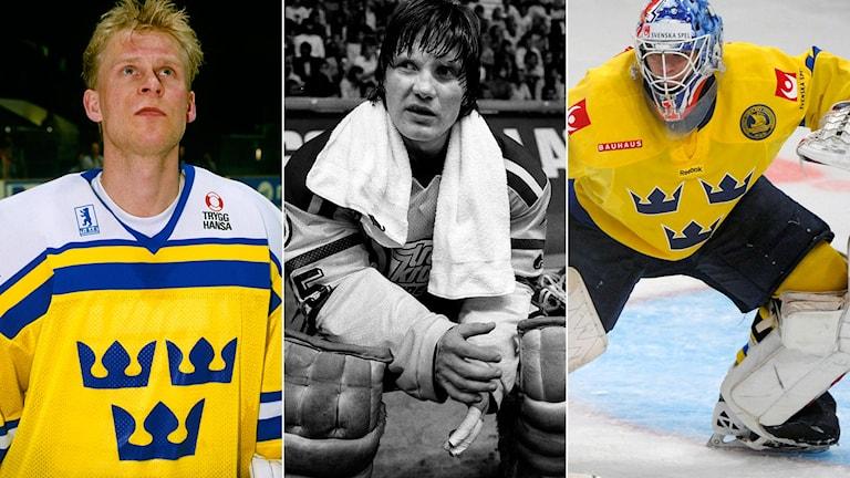 Peter Åslin, Pelle Lindbergh och Stefan Liv väljs alla in postumt i svensk hockeys Hall of Fame. Foton: TT.