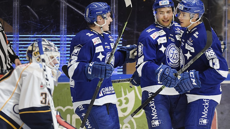 LEKSAND 2014-11-18 Leksands Fabian Brunnström (nr 96, mitten) jublar efter sitt 4-2 mål tillsammans med Martin Grönberg (tv) och Jon Knuts (th) under tisdagens ishockeymatch i SHL mellan Leksands IF och Djurgården Hockey i Tegera Arena i Leksand. Foto: Ulf Palm / TT.