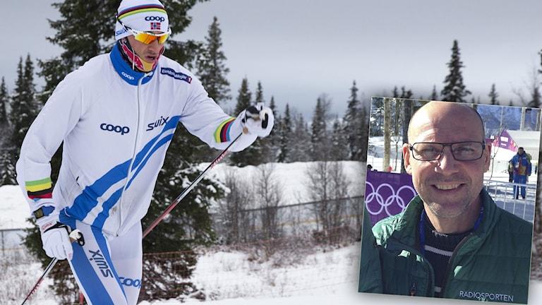 Petter Northug och Torgny Mogren (infälld i bild). Foto: Terje Bendiksby/TT.