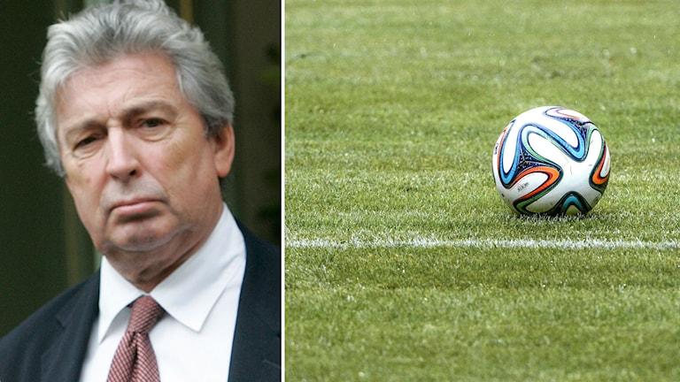 Frédéric Thiriez, ordförande franska ligaförbundet. Foto: AP/TT. Collage: Radiosporten.