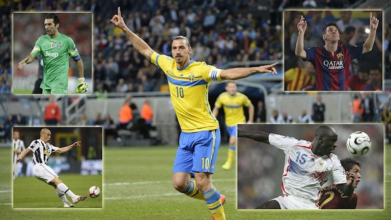 Zlatans drömelva med bland annat Buffon, Messi, Cannavaro och Thuram. Foto: TT