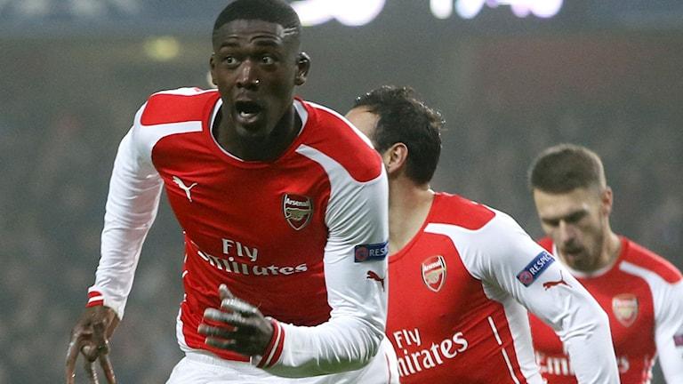 2014, Sanogo jublar efter Arsenal-mål. Foto: TT Nyhetsbyrån