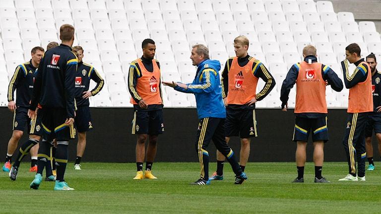Erik Hamrén och delar av det svenska landslaget. Foto: Claude Paris/AP/TT