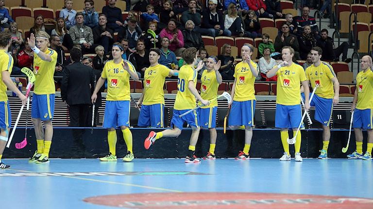 Sveriges landslag. Foto: Per Wiklund/Svenska innebandyförbundet