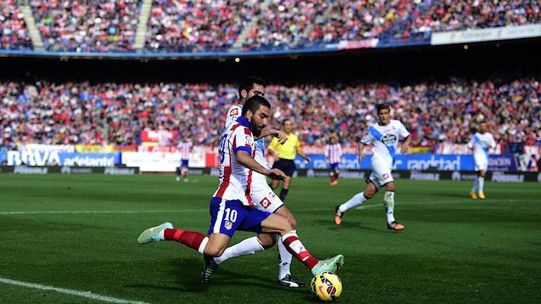 2014, Stökigt i samband med matchen mellan Atletico Madrid och Deportivo. Foto: TT Nyhetsbyrån