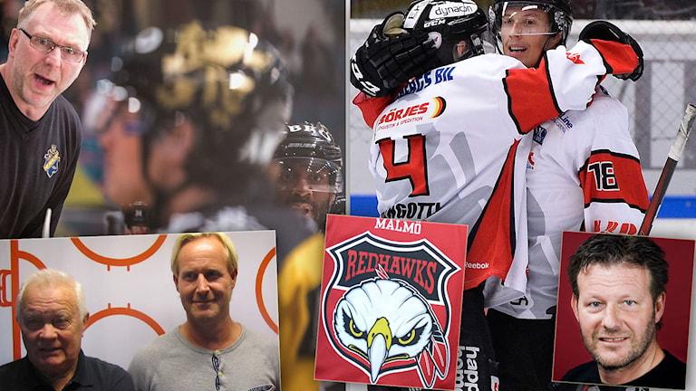 Stort fokus på Hockeyallsvenskan i veckans avsnitt av Radiosportens Hockeypodd. Foton: TT och SR.