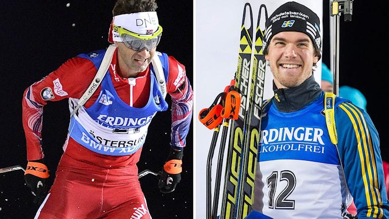 Ole Einar Björndalen (t.v.) och Fredrik Lindström kör med krokiga stavar. Foto: Jonathan Nackstrand/TT.