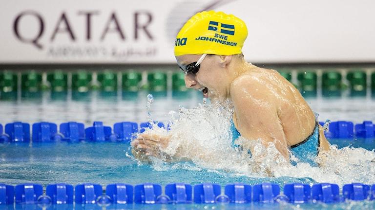 Jennie Johansson kom sjua på 100 meter bröstsim i VM i Doha. Foto: Jessica Gow/TT