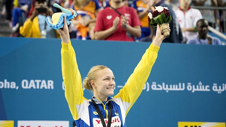 Sarah Sjöström efter guldet i 100 fjäril