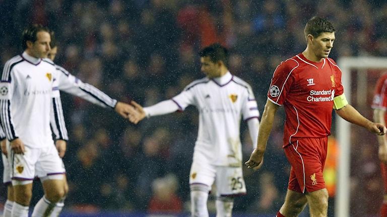 Basel fixade oavgjort mot Liverpool på Anfield. Foto: Jon Super/AP/TT