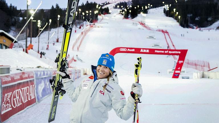 ÅRE 20141212 Sveriges Sara Hector jublar åt sin andra plats i damernas storslalom vid världscupen i Åre. Foto: Marcus Ericsson / TT