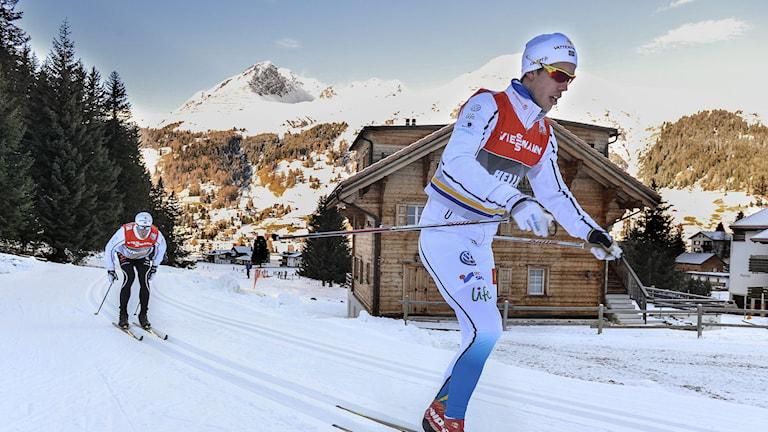 Marcus Hellner i svenska skidlandslaget anlände på fredagen till Davos