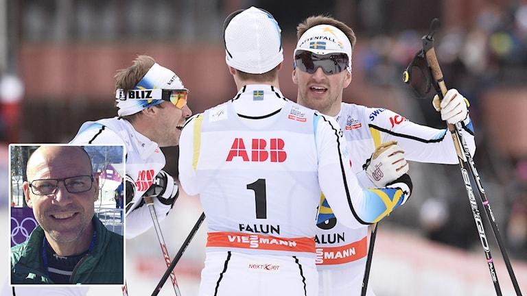 Halfvarsson, Peterson och Jönsson, infälld Torgny Mogren. Foto: TT/SR