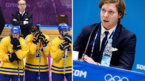 Pär Mårts, Tre Kronors förbundskapten, och Nicklas Bäckström under OS sista dag i Sotji. Foton: TT.