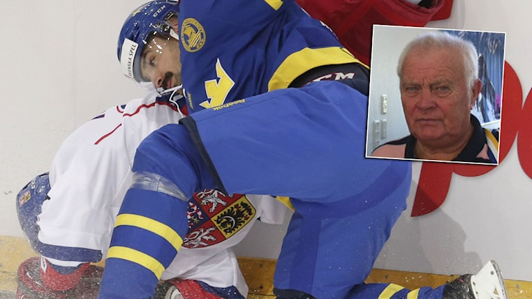 20141218 Tjeckien-Tre Kronor Jakub Klepis tacklas av Daniel Rahimi. Foto: TT, collage SR