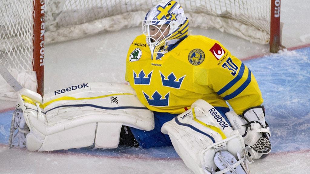 Kim Martin Hasson i det svenska målet. Foto: TT