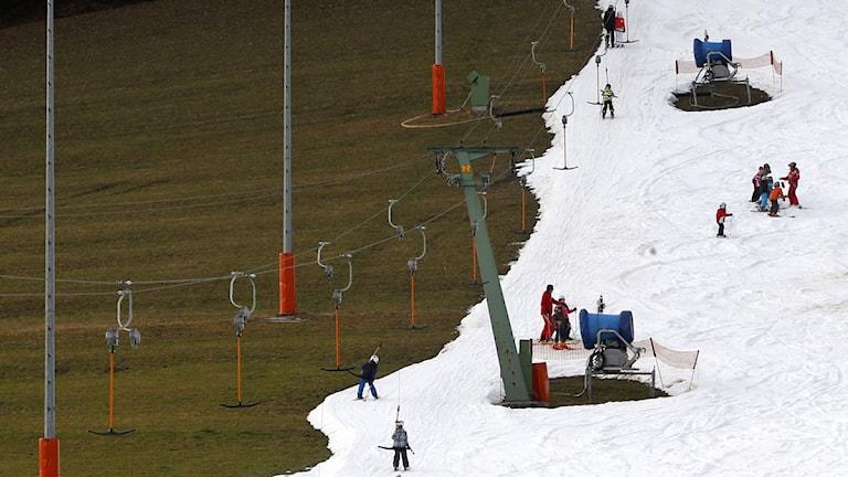 2014 Snöbrist i backe. Foto: Matthias Schrader/TT