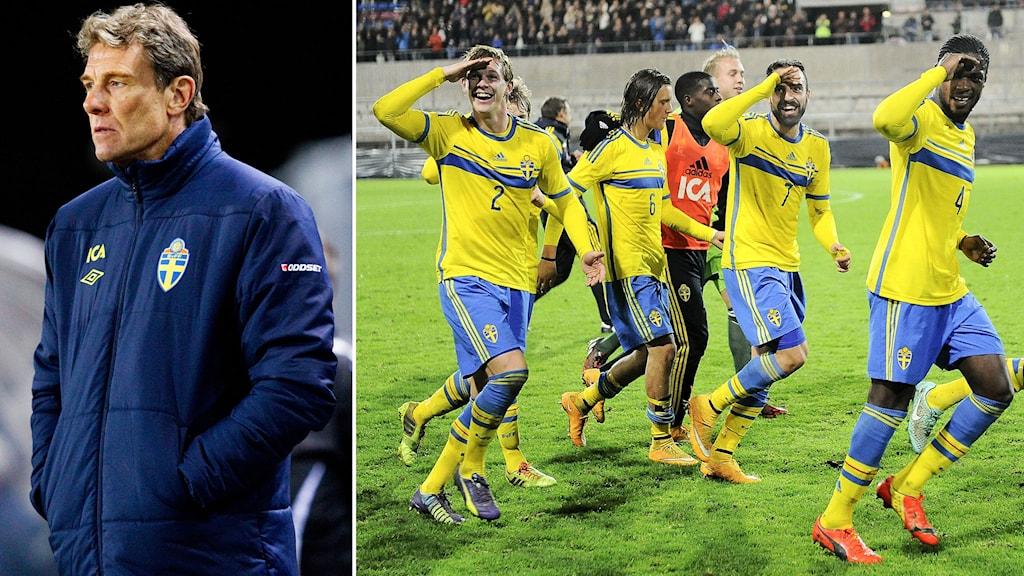 Förbundskapten Håkan Ericsson och U21-landslaget. Foto: TT. Collage: Radiosporten.