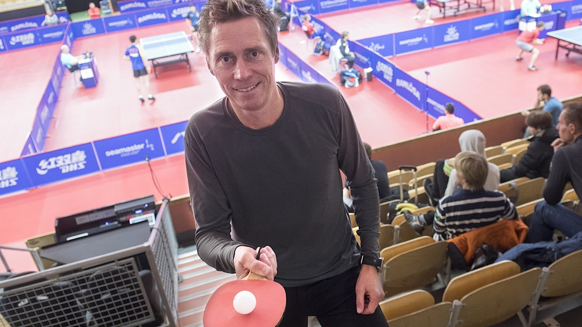 Jörgen Persson på läktaren under Swedish Open Championships i Eriksdalshallen.