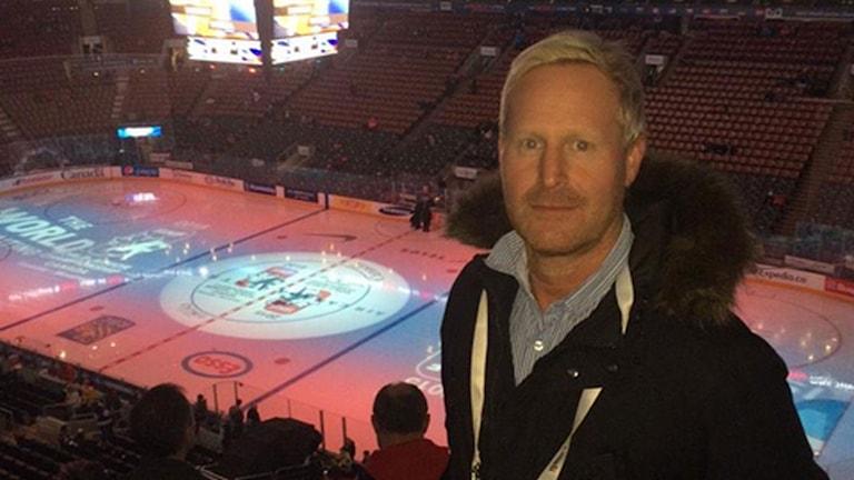 Magnus Wahlman i Toronto på JVM i ishockey