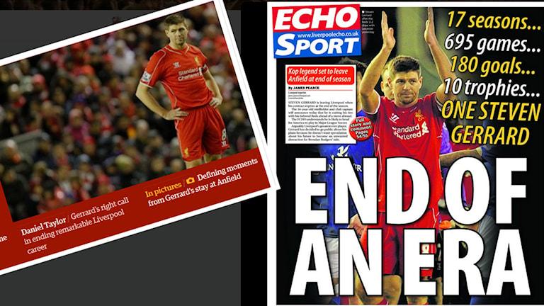 Steven Gerrard skapar stora rubriker i bland annat Liverpool Echo och The Guardian. Collage: SR.
