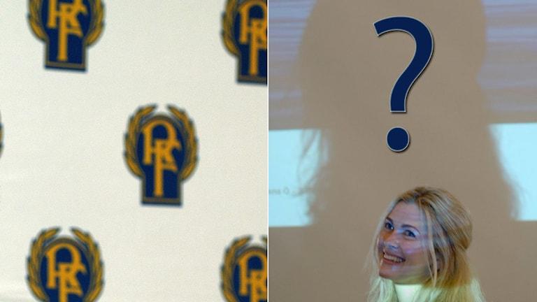 Collage RF-märke och Karin Mattsson Weijber. Foto: TT, collage SR