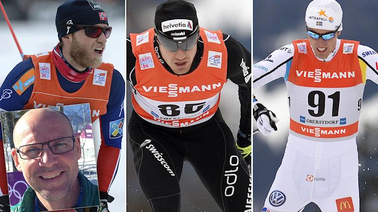 Martin Johnsrud Sundby, Dario Cologna, Calle Halfvarsson och (infälld) Torgny Mogren. Foton: TT och SR.