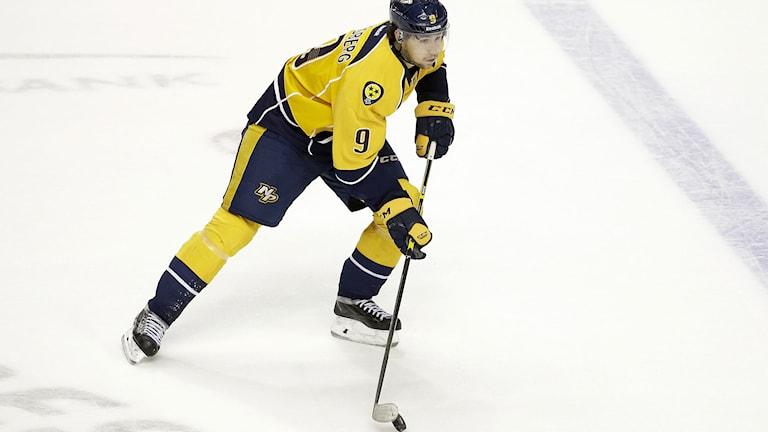 Filip Forsberg, Nashville Predators, kan bli den fjärde svensken att utses till årets nykomling i NHL. Foto: Mark Humphrey/TT.