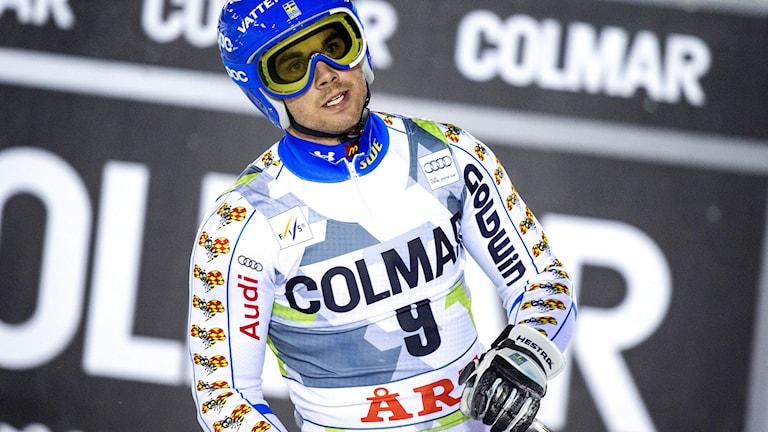 ÅRE 20141212 Sveriges Matts Olsson efter det andra åket i herrarnas storslalom vid världscupen i Åre. Foto: MARCUS ERICSSON / TT