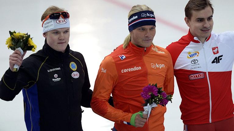 Från vänster: David Andersson, Sverige, Koen Verweij, Nederländerna och Jan Szymanski, Polen. Foto: Yuri Kadobnov/TT.