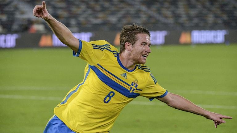 Marcus Rohdén gjorde 2-0-målet mot Elfenbenskusten. Foto: Janerik Henriksson/TT