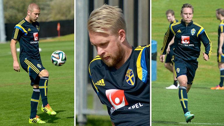 Anton Tinnerholm, Johan Larsson, Ludwig Augustinsson. Foto: JanErik Henriksson / TT. Collage: Radiosporten.