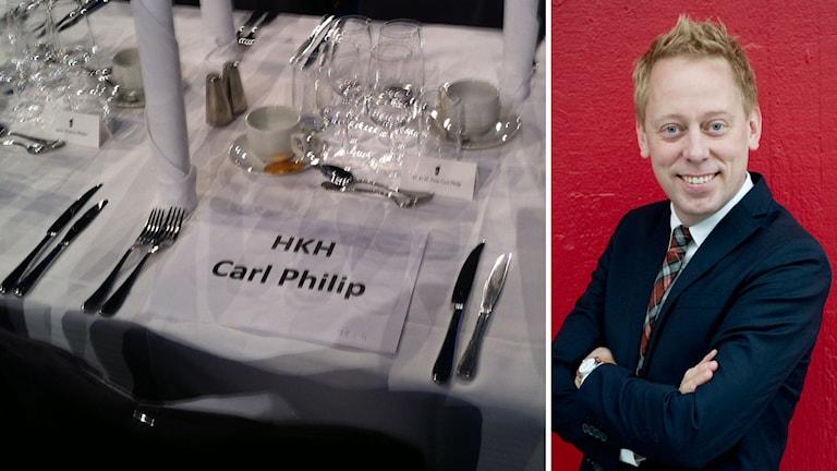 Platsen där prins Carl Philip ska sitta under Idrottsgalan och Peter Settman. Foto: SR/TT
