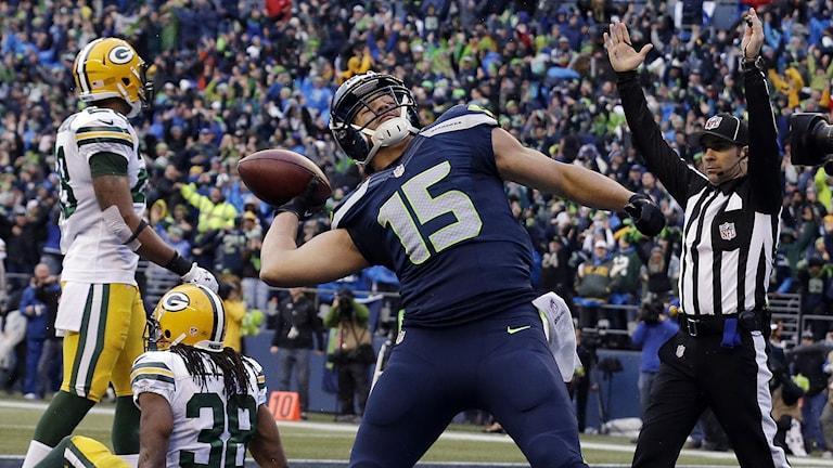 2014, Seattle Seahawks Jermaine Kearse jublar efter sin avgörande poäng. Foto: TT Nyhetsbyrån