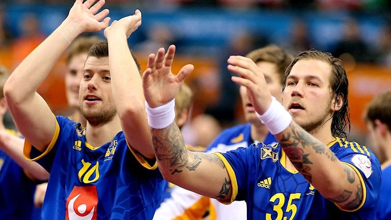2014, Sverige jublar efter segern. Foto: TT Nyhetsbyrån