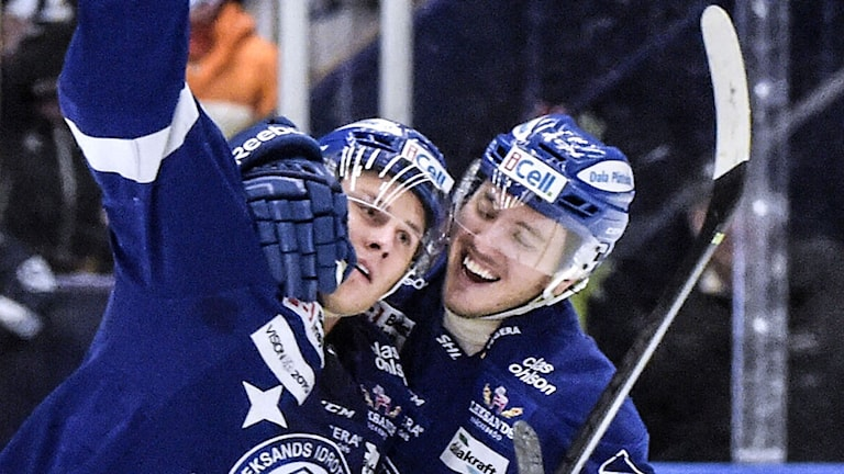 Leksands David Åslin satte 1-1 målet. Foto: Ulf Palm / TT