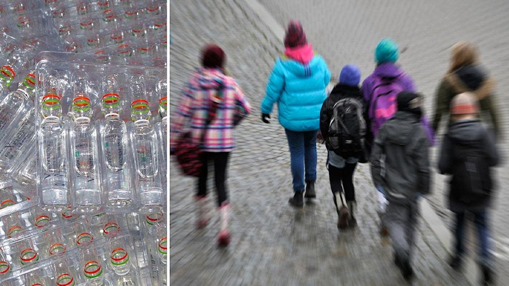 Collage Dopning och skolbarn. Foto TT, collage SR
