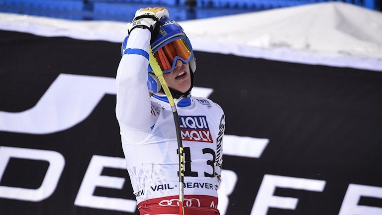 Kajsa Kling i målfållan efter Super-G i VM