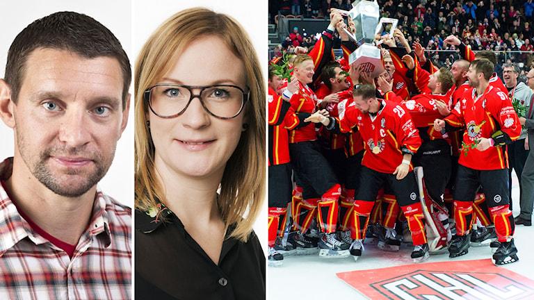Kristofer Ottosson och Lena Sundqvist snackar bland annat om CHL i veckans avsnitt av Radiosportens Hockeypodd. Foton: TT och SR.