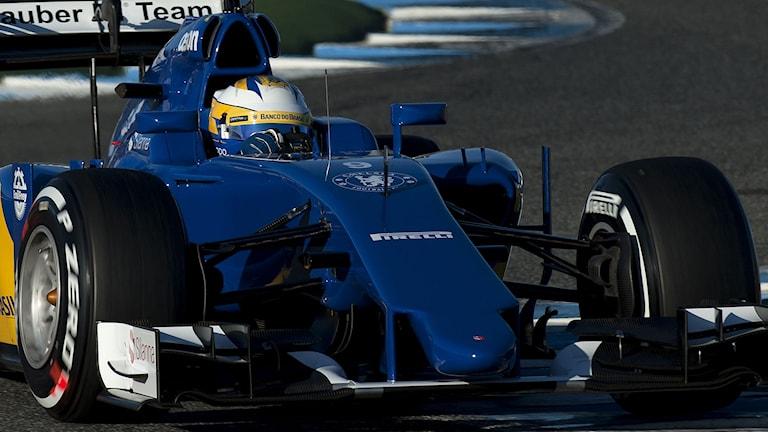 20150201 Marcus Ericsson i sin Sauber. Foto: Jorge Guerrero/TT.