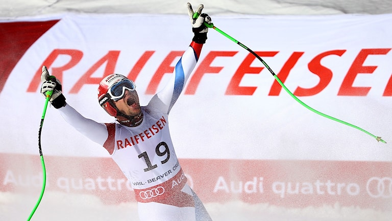 BEAVER CREEK, CO - FEBRUARY 07: Patrick Kueng of Switzerland reacts after crossing the finish of the Men's Downhill in Red Tail Stadium on Day 6 of the 2015 FIS Alpine World Ski Championships on February 7, 2015 in Beaver Creek, Colorado. Al Bello/Getty Images/AFP
